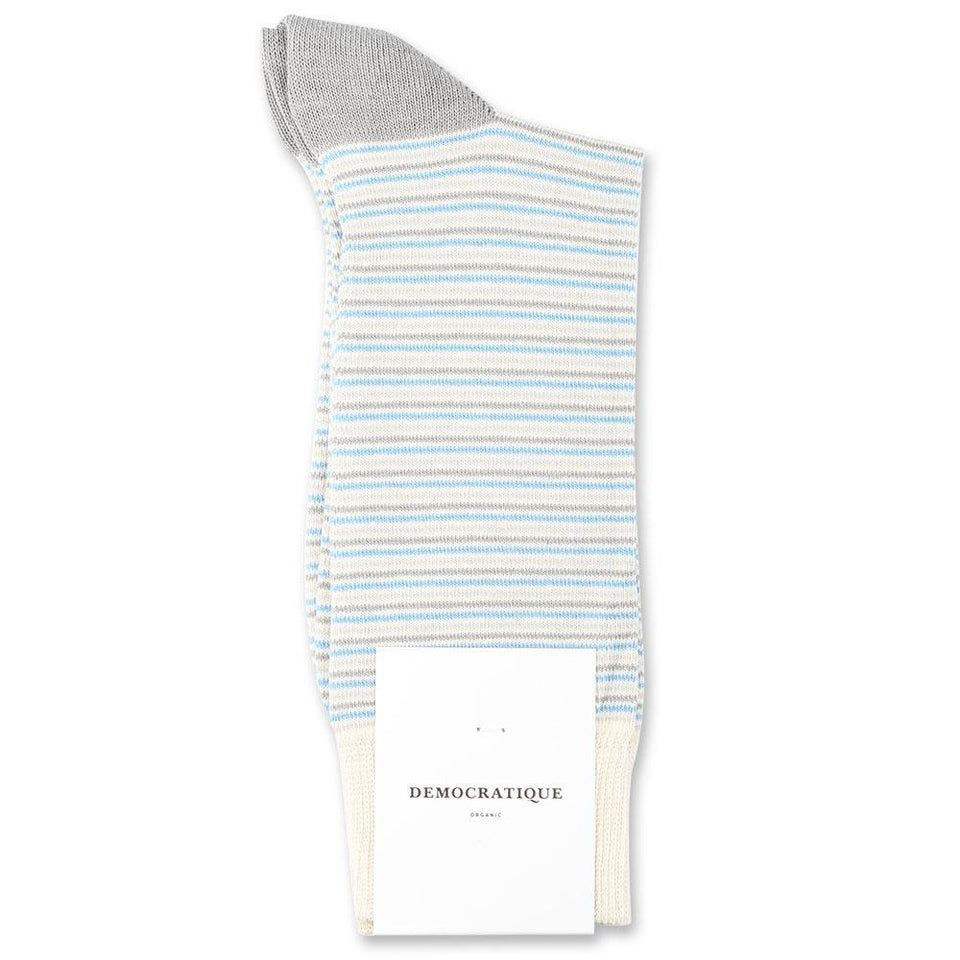 Democratique Socks Originals Ultralight Stripes Organic Cotton Off White / Soft Grey / Stone / Palm Springs Blue - Democratique Socks