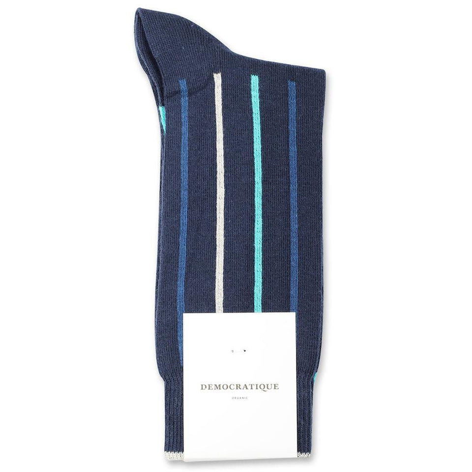 Democratique Socks Originals Latitude Striped Organic Cotton Navy / New Blue / Off White / Swimmingpool - Democratique Socks