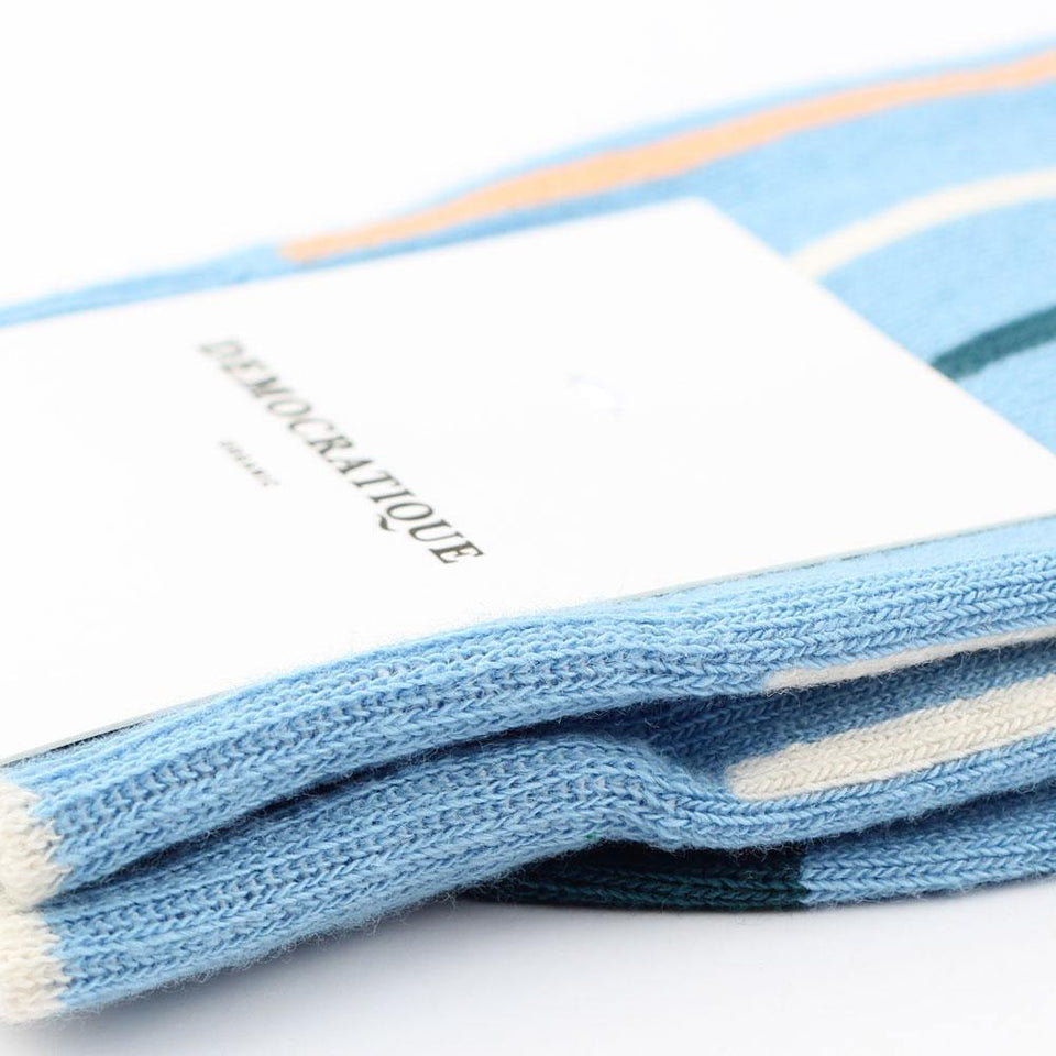 Democratique Socks Originals Latitude Striped Organic Cotton Palm Springs Blue / Abricos / Benzin / Off White - Democratique Socks