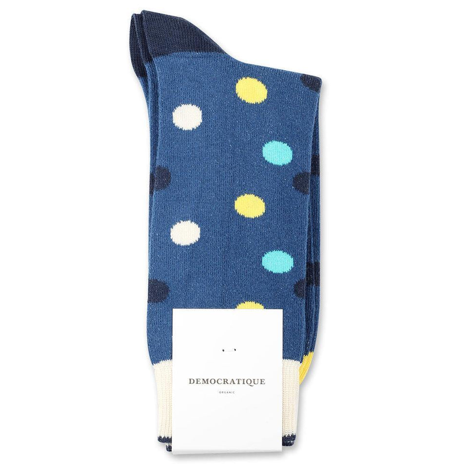 Democratique Socks Originals DotCom Organic Cotton New Blue / Yellow Sun / Swimmingpool / Navy / Off White - Democratique Socks