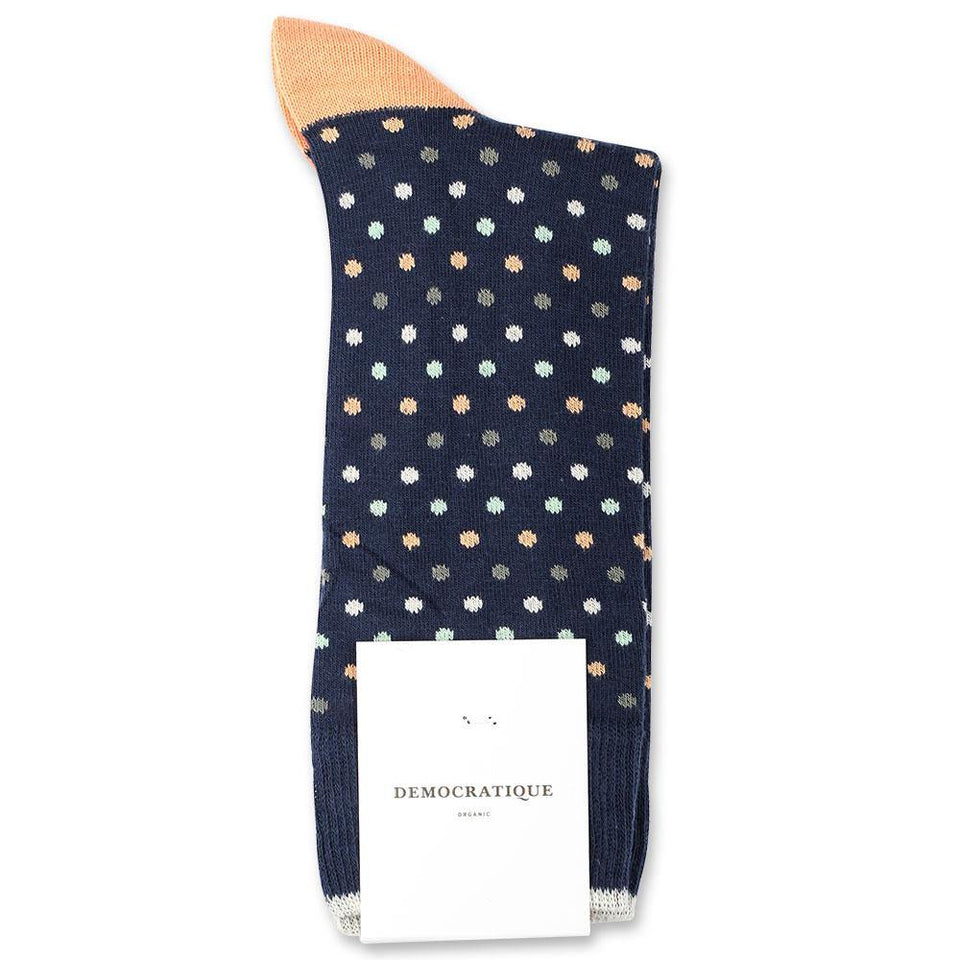 Democratique Socks Originals Polkadot Organic Cotton Navy / Abricos / Off-White / Pale-Green / Army - Democratique Socks