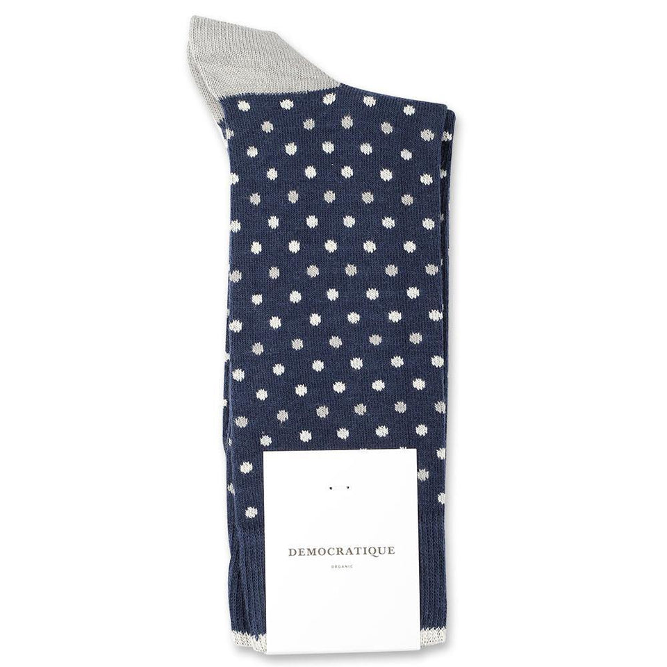 Democratique Socks Originals Polkadot Organic Cotton Navy / Stone / Off White / Silver - Democratique Socks