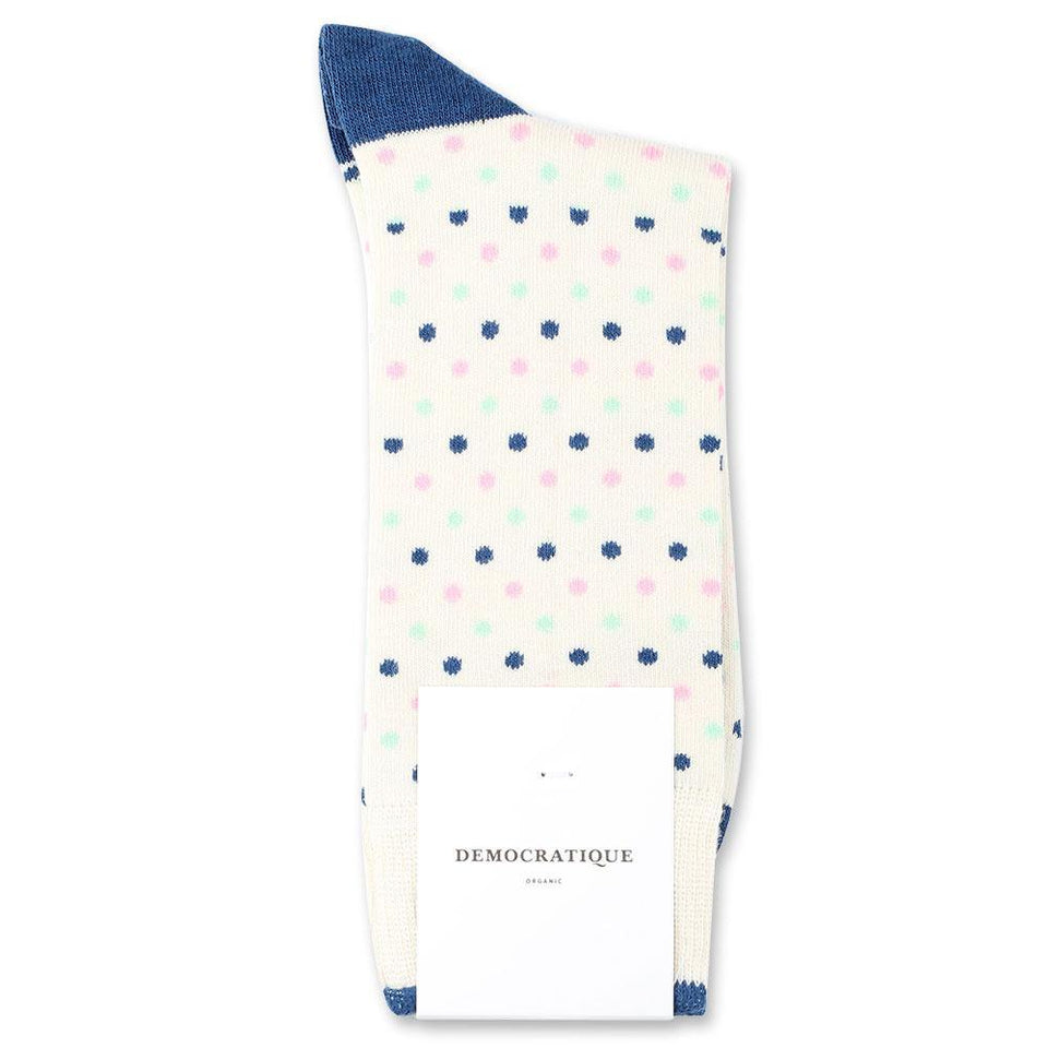 Democratique Socks Originals Polkadot Organic Cotton Off White / New Blue / Pale Green / Soft Pink - Democratique Socks