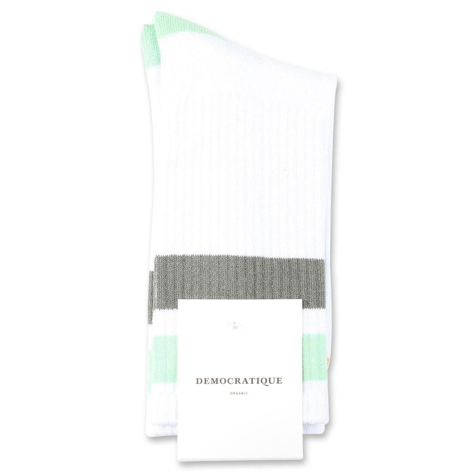 Democratique Socks Athletique Classique Stripes Organic Cotton Clear White / Abricos / Army / Pale Green - Democratique Socks