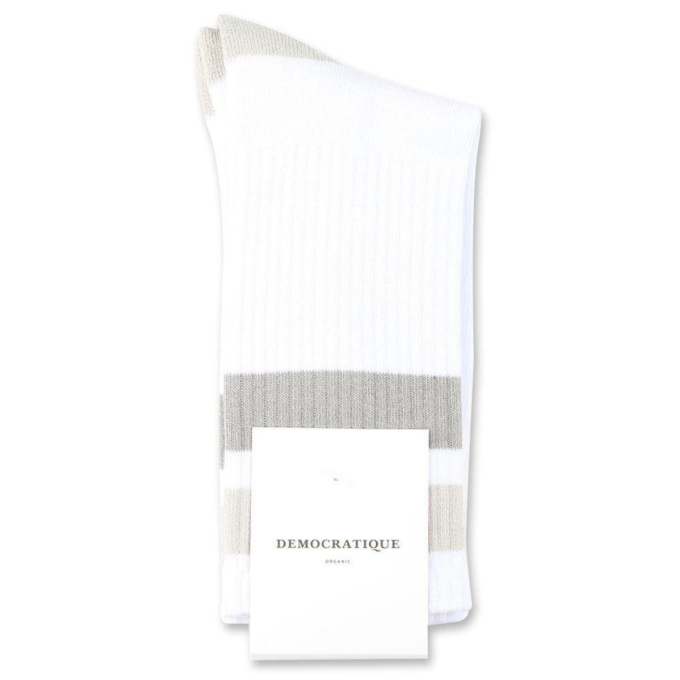 Democratique Socks Athletique Classique Stripes Organic Cotton Clear White / Soft Grey / Stone / Benzin - Democratique Socks