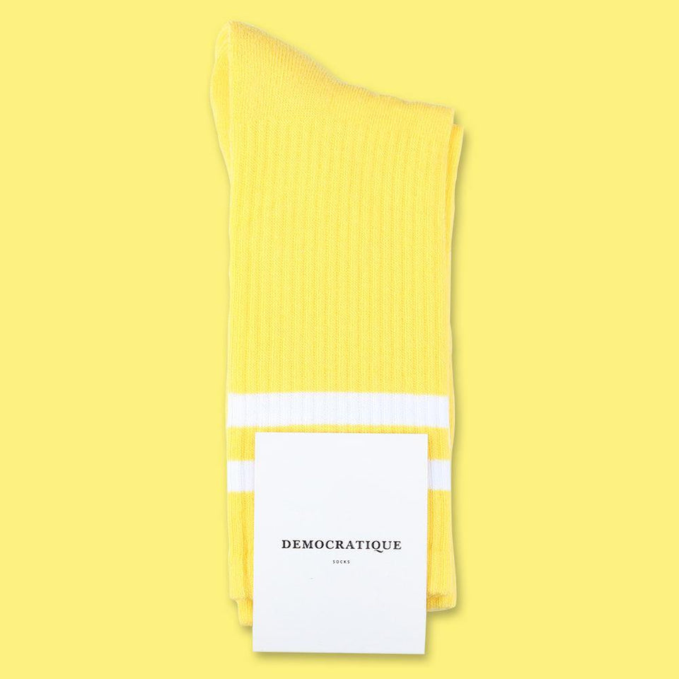 Democratique Socks Athletique Classique Stripes Organic Cotton Yellow Sun / Clear White - Democratique Socks