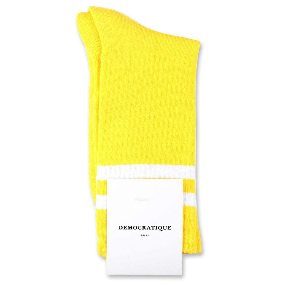 Democratique Socks Athletique Classique Stripes Organic Cotton Yellow Sun / Clear White