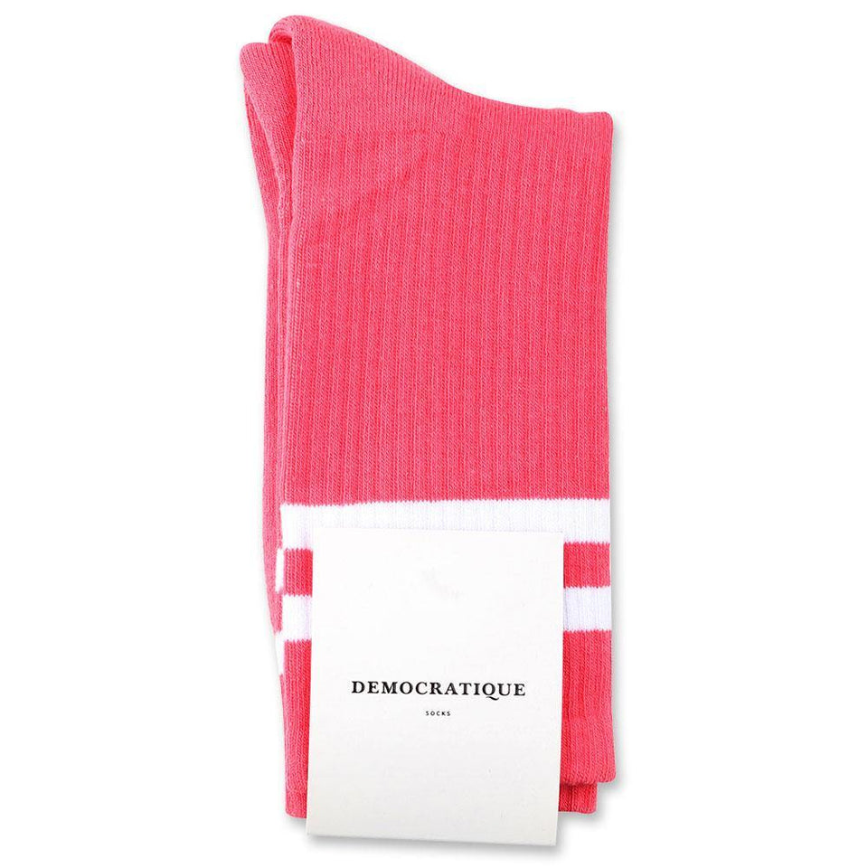 Democratique Socks Athletique Classique Stripes Organic Cotton Watermelon / Clear White