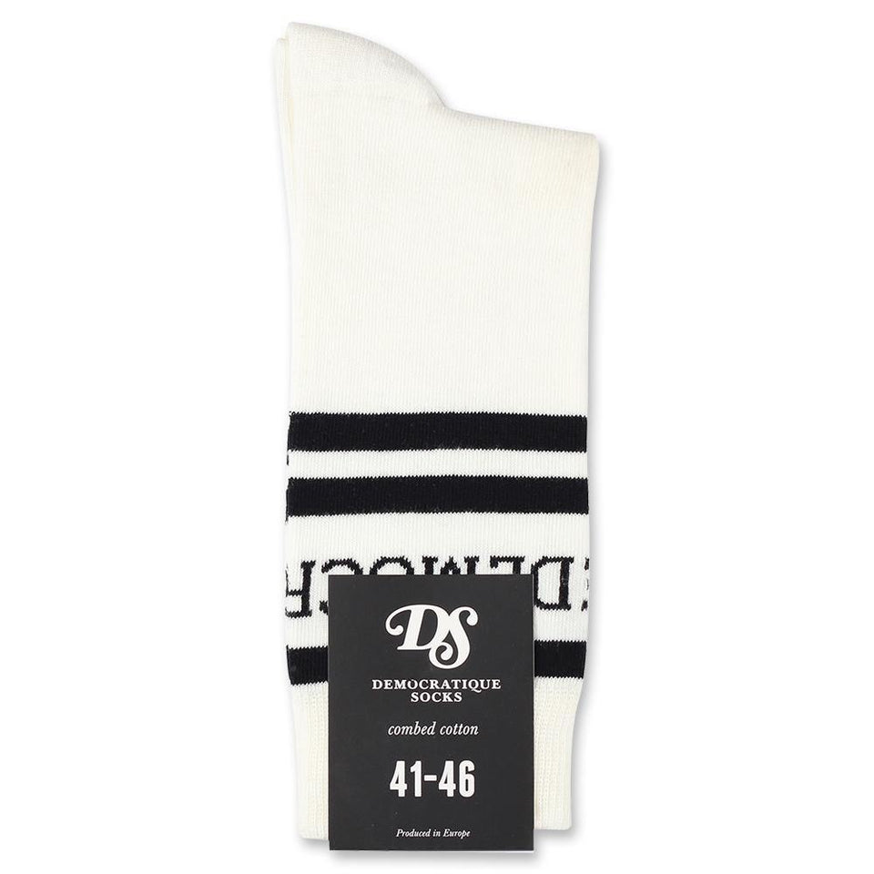 Democratique Socks Originals Long Stripes Logo Broken White / Black - Democratique Socks