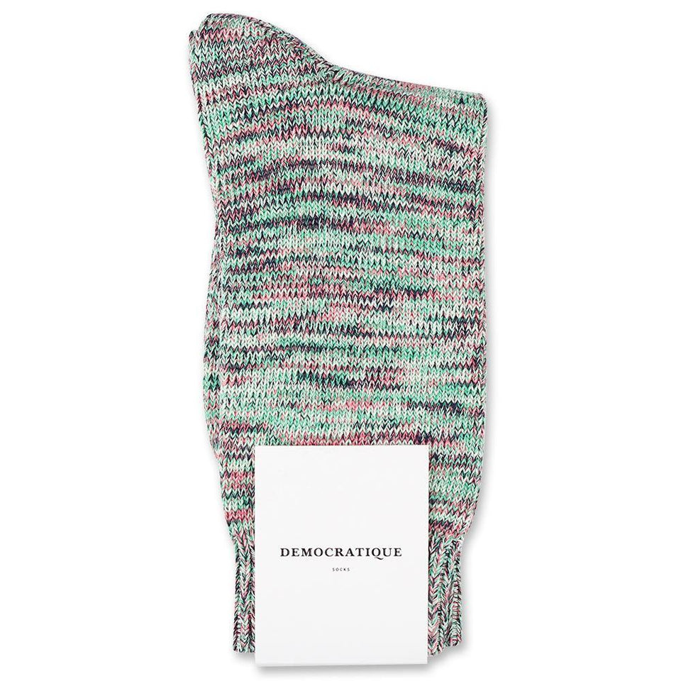 Democratique Socks Relax Chunky Flat Knit Supermelange Greenday / Pale Green / Navy / Watermelon / Off White - Democratique Socks