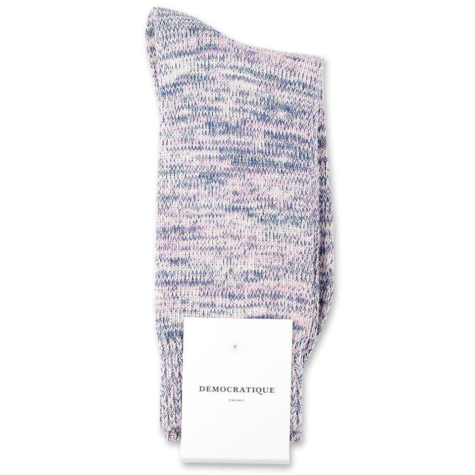 Democratique Socks Relax Chunky Flat Knit Supermelange Organic Cotton Off White / Soft Pink / New Blue - Democratique Socks