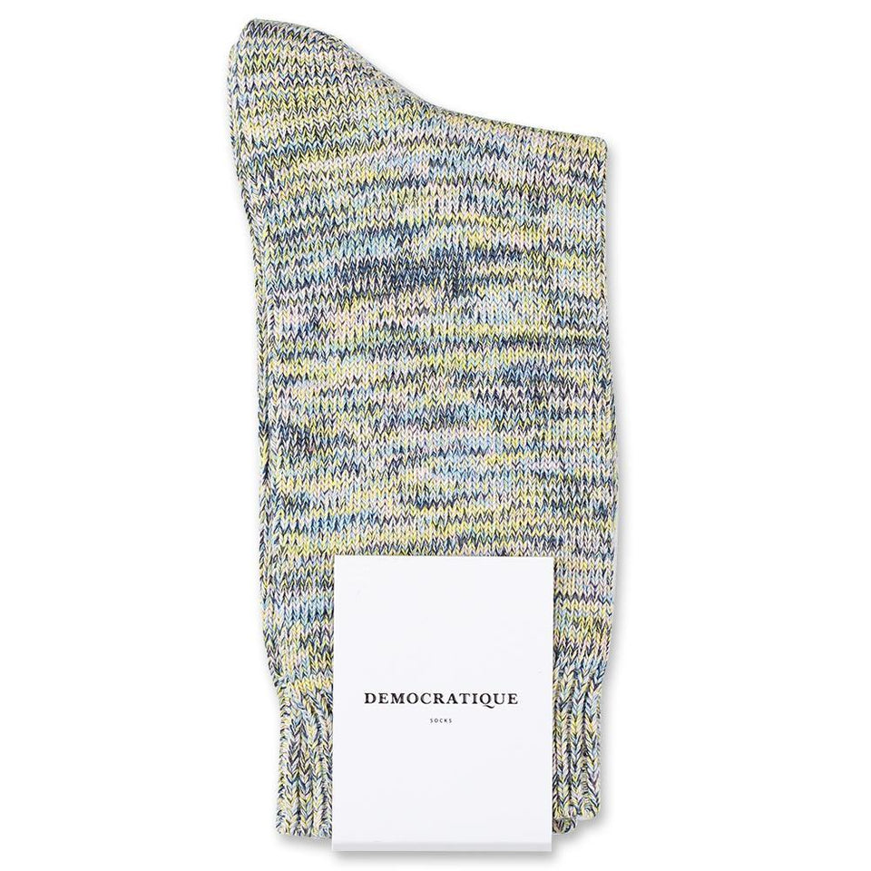 Democratique Socks Relax Chunky Flat Knit Supermelange Palm Springs Blue / Shaded Blue / Off White / Yellow Sun / Pale Pink - Democratique Socks