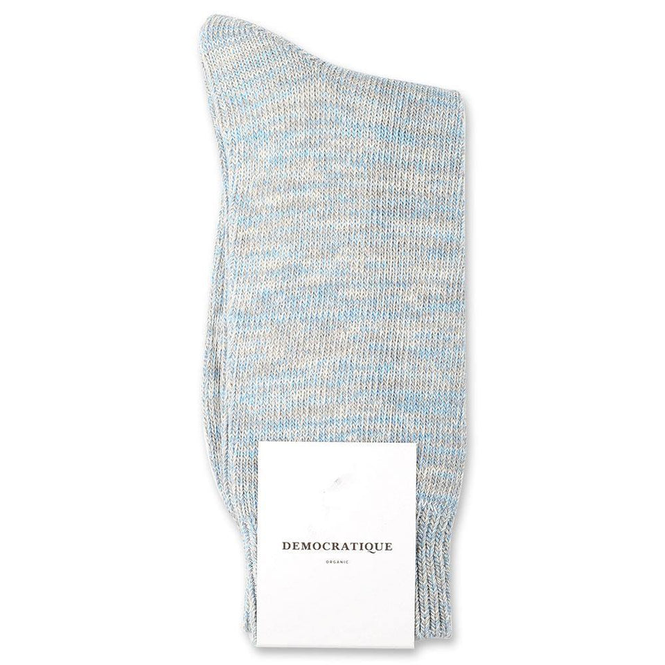 Democratique Socks Relax Chunky Flat Knit Supermelange Organic Cotton Soft Grey / Stone / Off White / Palm Springs Blue - Democratique Socks