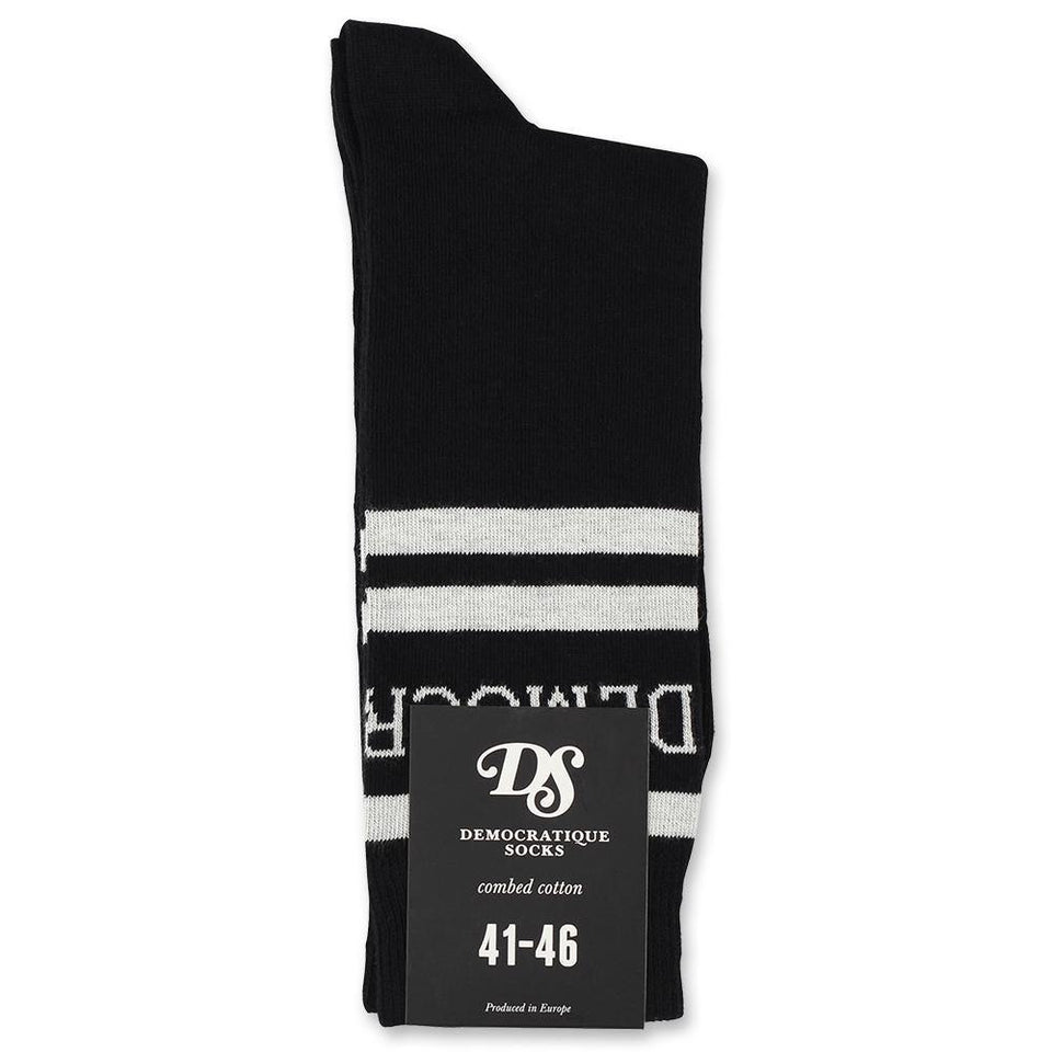 Democratique Socks Originals Long Stripes Logo Black / Broken White - Democratique Socks