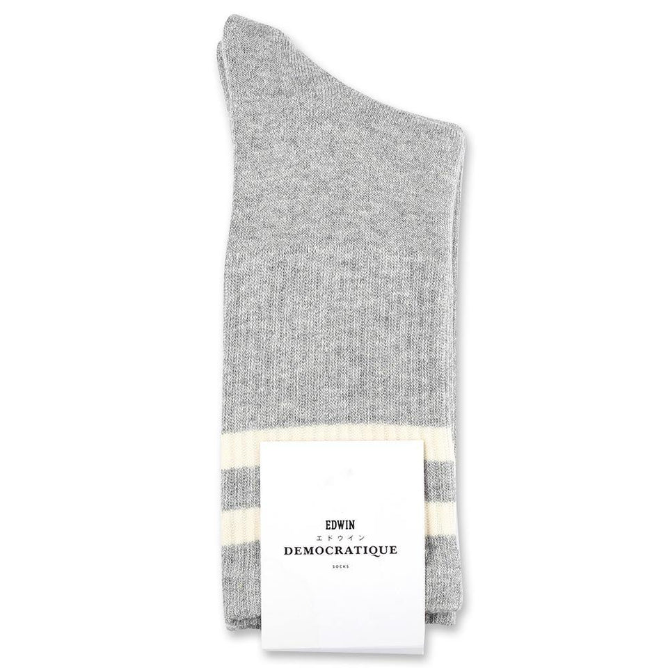 Edwin Jeans x Democratique Socks Athletique THIS IS THE LIFE Light Grey Melange / Off White - Democratique Socks