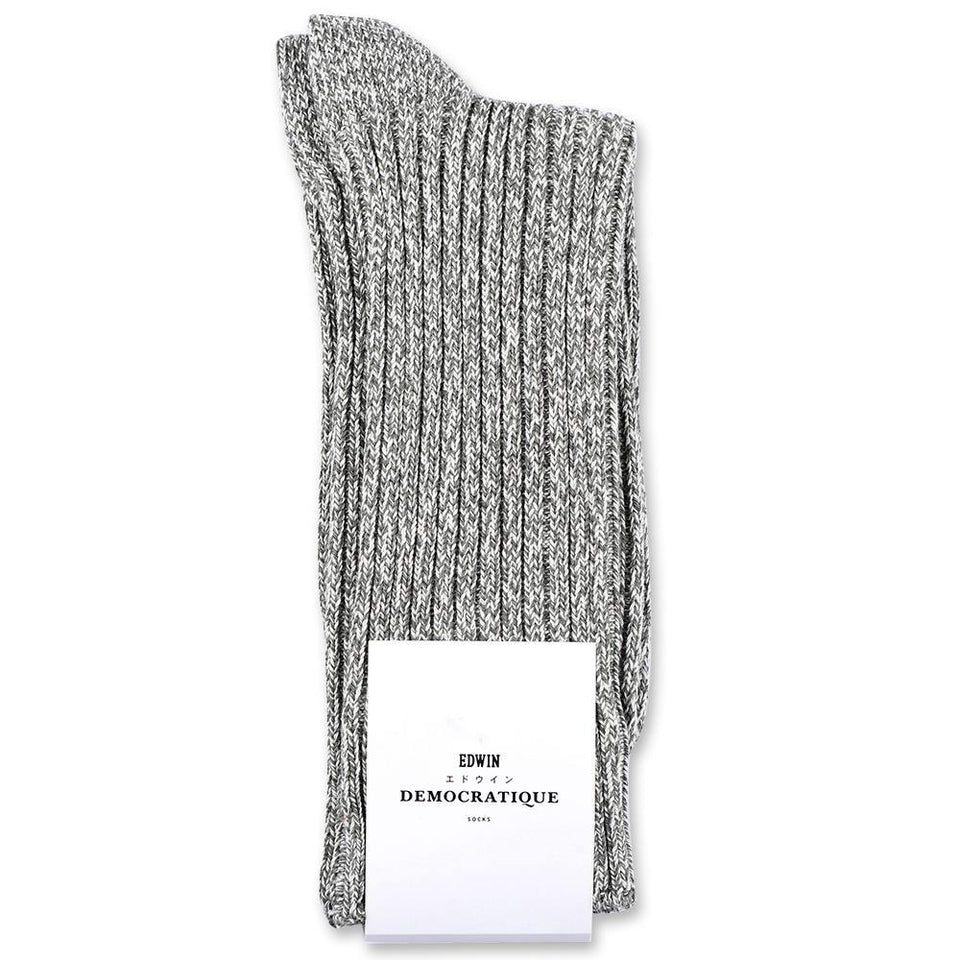 Edwin Jeans x Democratique Socks Relax Rib Sock Supermelange Army / Off White - Democratique Socks