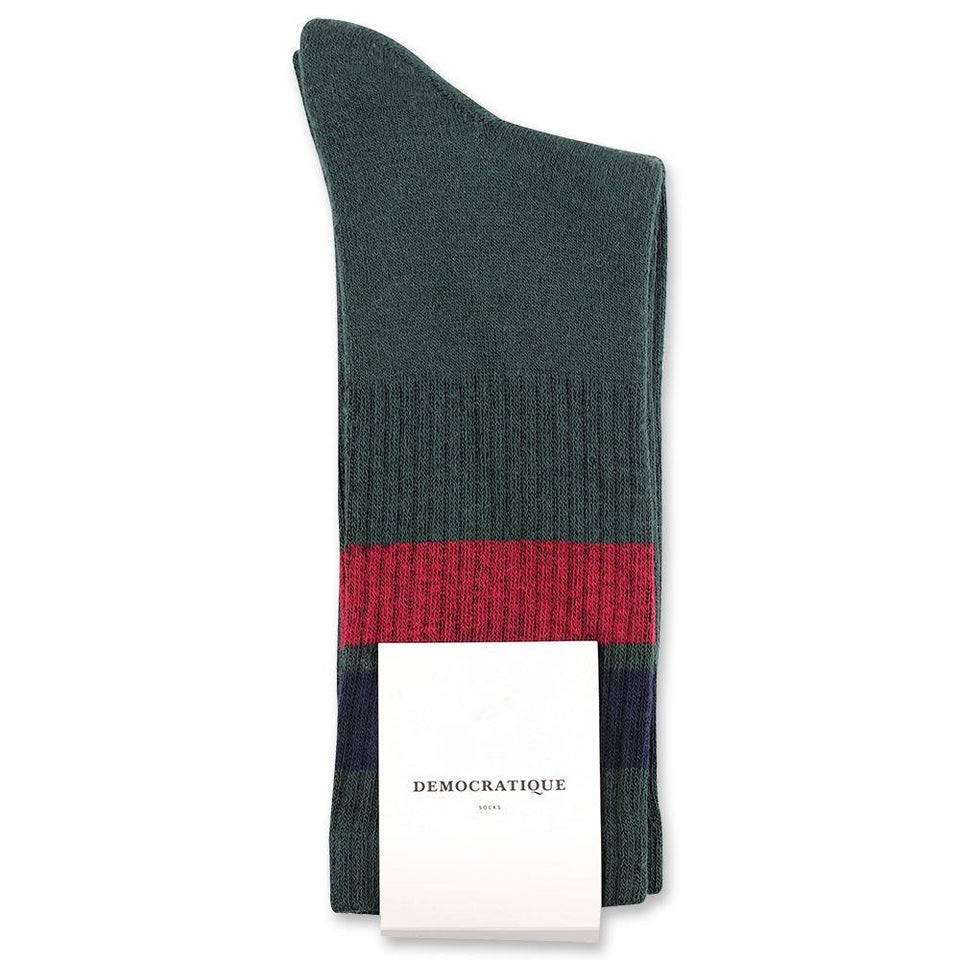 Democratique Socks Athletique Classique Stripes Forrest Green - Navy - Red Wine - Democratique Socks