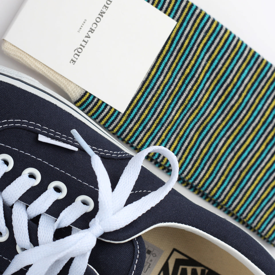 Democratique Socks Originals Ultralight Stripes Organic Cotton Navy / Yellow Sun / Swimmingpool / Off White
