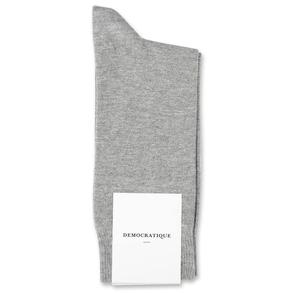 Democratique Socks - Light Grey Melange- Grey Cotton Socks