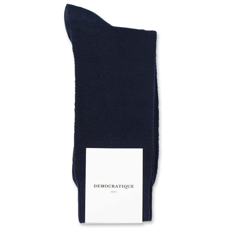 Democratique Socks Originals Champagne Pique Navy - Democratique Socks