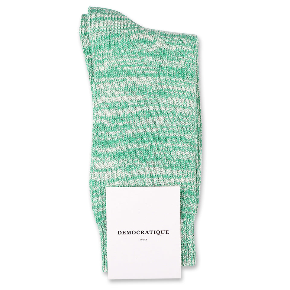 Democratique Socks Relax Chunky Flat Knit Supermelange Green Day / Off White