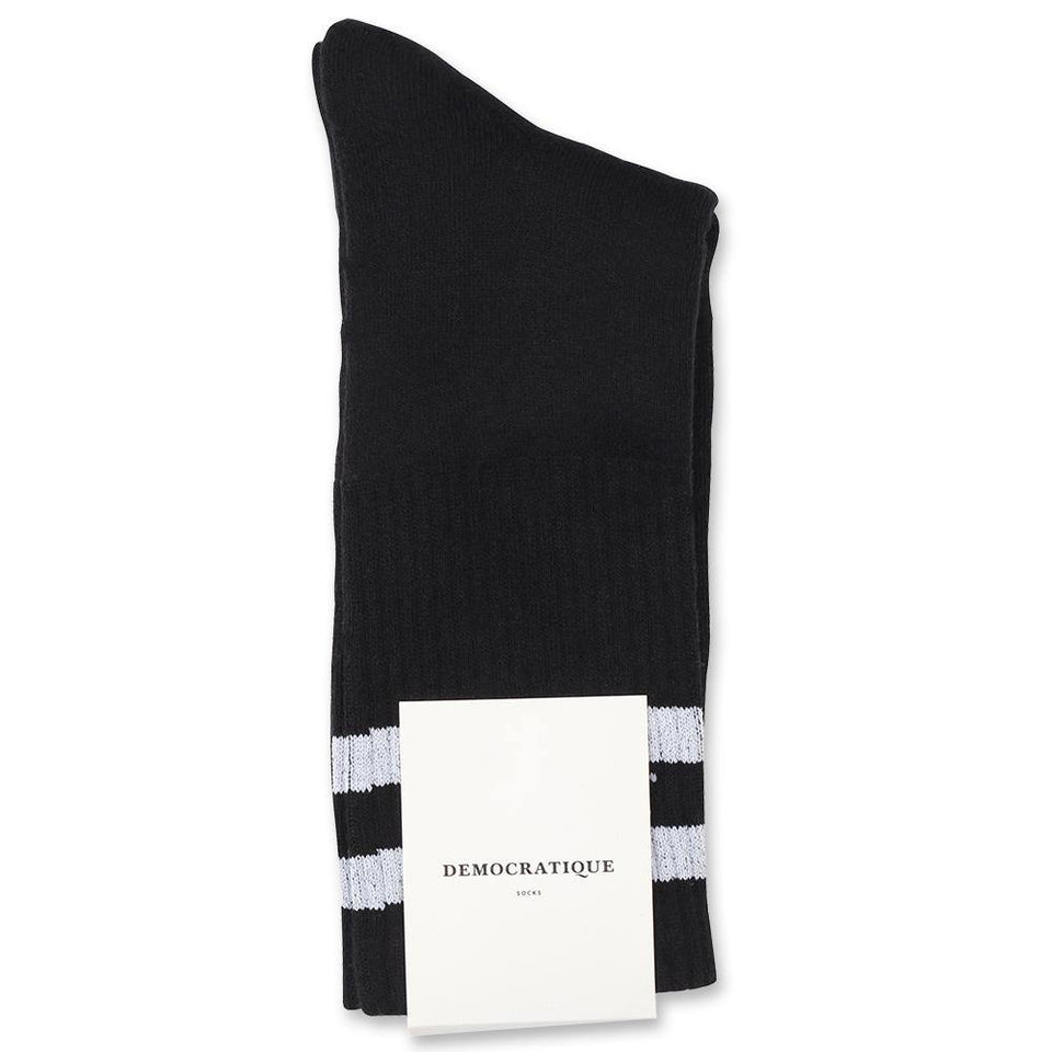 Edwin Jeans x Democratique Socks Athletique THIS IS THE LIFE Black / Clear White - Democratique Socks
