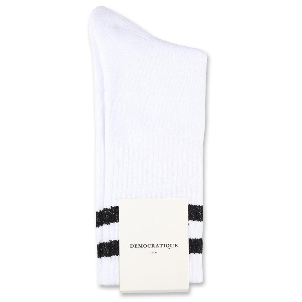 Edwin Jeans x Democratique Socks Athletique THIS IS THE LIFE Clear White Black - Democratique Socks