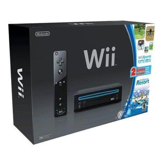 Nintendo Wii Console Black with Wii Sports and Wii Sports Resort
