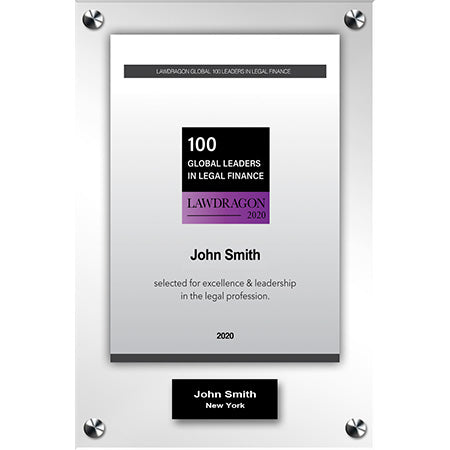 2020 Global Legal Finance Acrylic Recognition Plaque