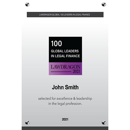 2021 Global Leaders in Legal Finance Acrylic Plaque
