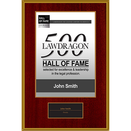 Hall of Fame Recognition Plaque