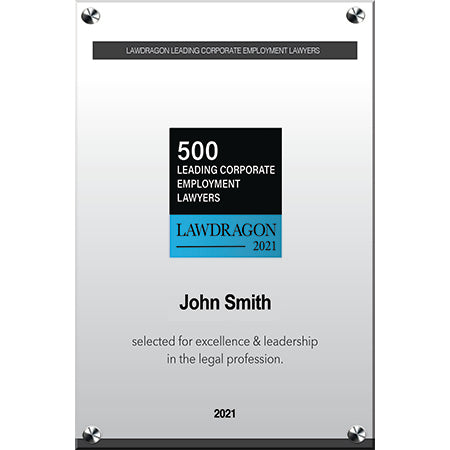 2021 Leading Corporate Employment Acrylic Recognition Plaque
