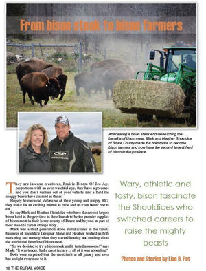 Big Rock Bison Farm Profile in The Rural Voice - Healthy Bison Meat Snack Sticks - BUFF