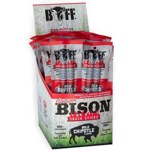 BUFF Snack Sticks - Bold Chipotle Twins - Healthy Bison Meat Snack Sticks - BUFF