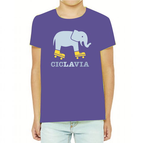 CicLAvia Elephant on Skates Adults & Kids T-Shirt