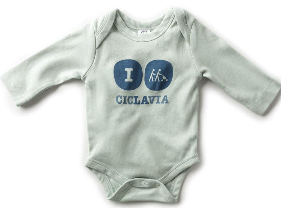 Organic Long Sleeve Baby Bodysuit - Caribbean Sea