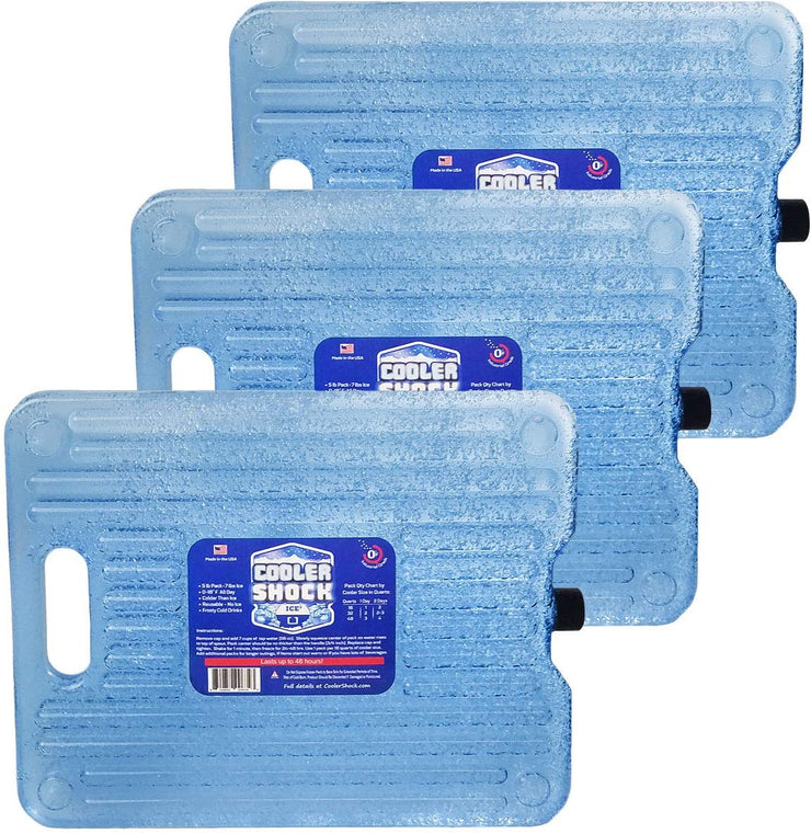 Cooler Shock Ice Packs, Clear 3-Pack