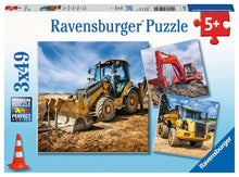Load image into Gallery viewer, Diggers at Work - 3 x 49 piece puzzle