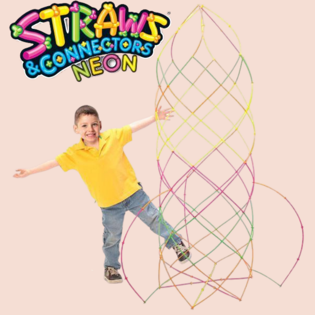 Neon Straws & Connectors Set - 300 pieces