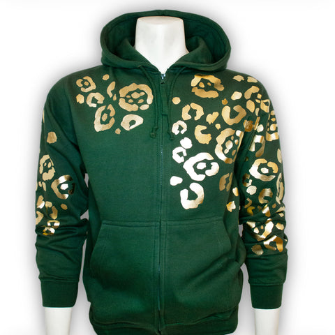 Cool Cat Green Zip Hoodie