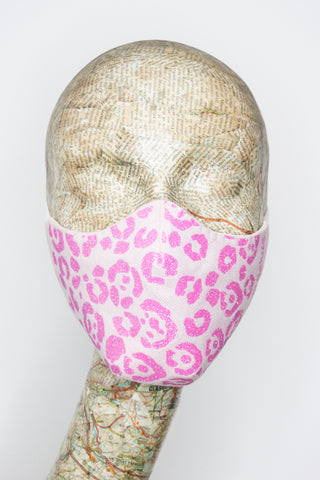 Cool Cat Face Cover in Pink Glitter