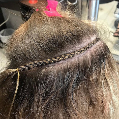 braided weft extension installation on blonde hair secure no damage calgary canada