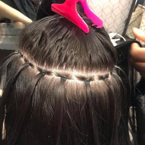micro bead braidless extensions installation flat sew in row braidless