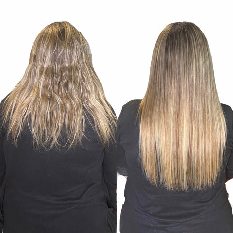 1 row of extensions on blonde highlighted hair low maintenance