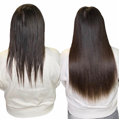 braidless extensions on very thin hair dark brown healthy growth from tape ins