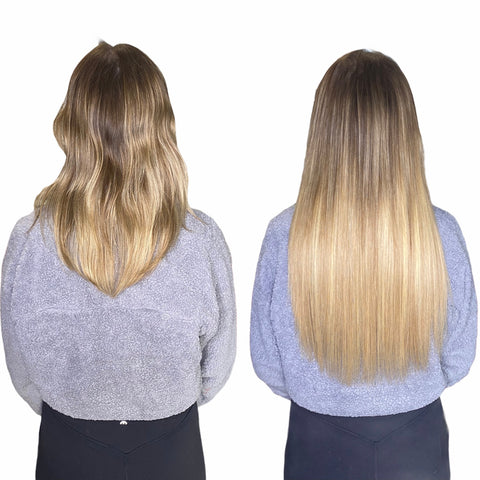 2 rows of extensions on blonde hair long human hair weave with high quality extensions sold in Calgary