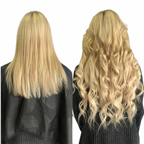 blonde highlight extensions curled with cut blended layer