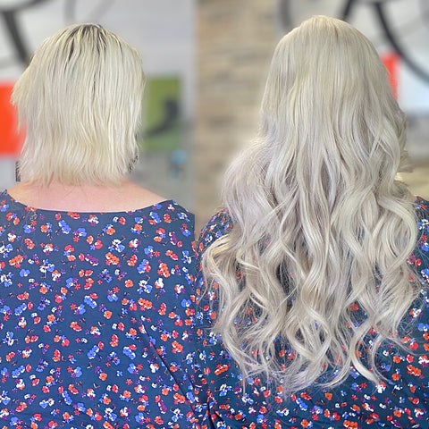 before and after blonde hair extensions on very short blonde hair