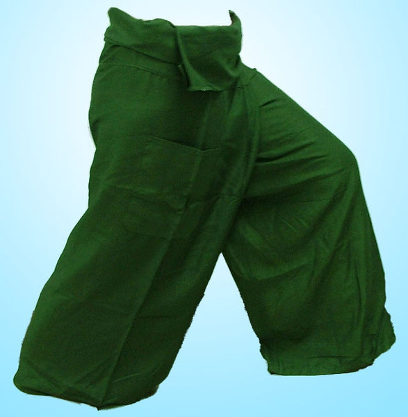 Thai Fisherman Yoga Massage 3/4 Pants DARK GREEN