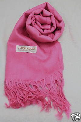 Fair Trade 70% Pashmina(Cashmere) 30% SILK Shawl Pink